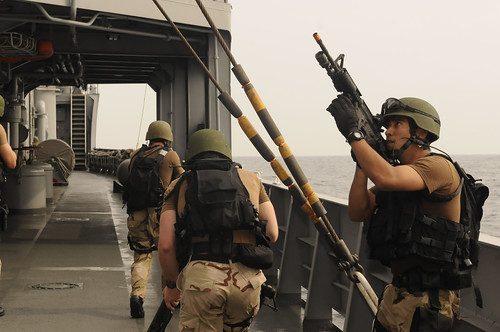 Visit, board, search and seizure exercise aboard destroyer.