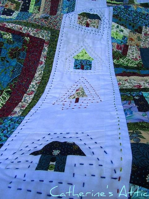 Wonky houses/log cabin quilt