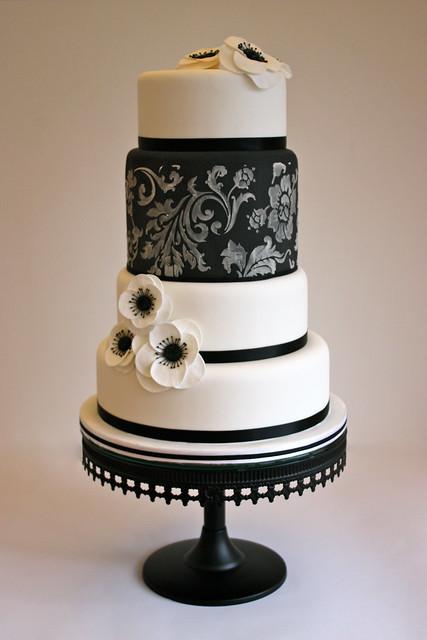 Black & White Anemone Wedding Cake | Flickr - Photo Sharing!