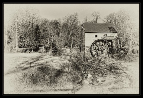 bw mill monochrome sepia nc northcarolina historic oldmill guilford guilfordmill hdraddicted