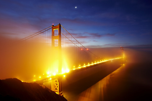 The Golden Gate Bridge (wrapped in fog)