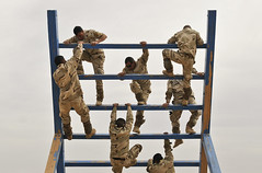 soldiers climbing in training exercise