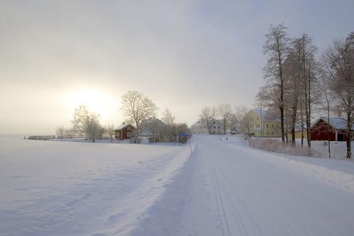 road trees houses winter mist landscape frost village sweden sverige hdr östergötland sigma1020mmf456exdchsm råby canoneos7d gettyimagesswedenq1