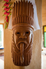 carving, art, temple, wood, sculpture, tiki, lighting, statue,