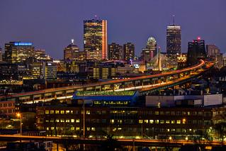 Boston skyline from Malone Park, Chelsea
