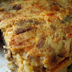 moussaka(0.0), cookware and bakeware(0.0), cottage pie(0.0), meal(1.0), breakfast(1.0), vegetable(1.0), frittata(1.0), zwiebelkuchen(1.0), produce(1.0), food(1.0), dish(1.0), cuisine(1.0), tortilla de patatas(1.0),