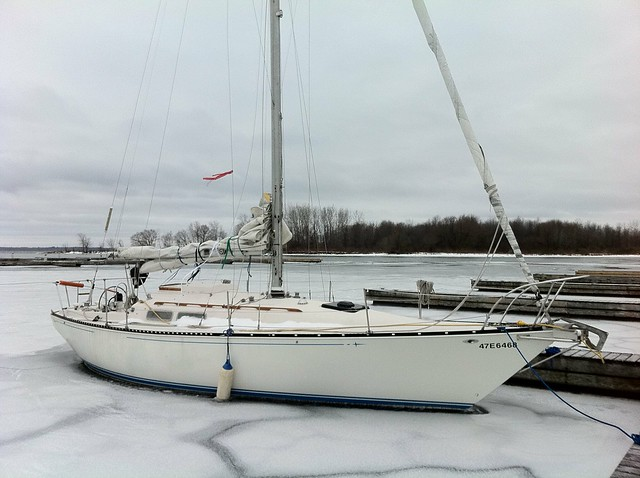 1975 C&C 33' stuck in the ice. This lovely boat was left for a weekend, ...