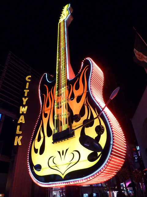 night shot of the huge Fender guitar in front of the Hard Rock Cafe at Universal Citywalk in Hollywood
