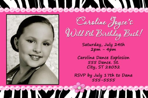 Hot Pink Zebra Print Sassy Birthday Invitation zebra and pink wedding