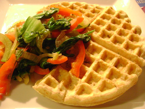 Poached Garlic Waffles
