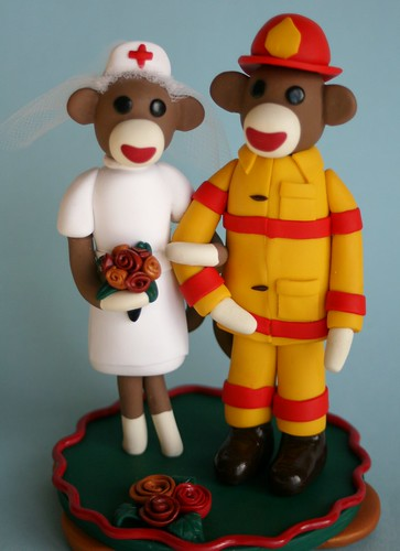 Sock Monkey Wedding Cake Topper Nurse and Fireman