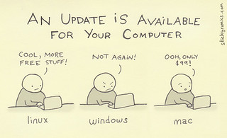 An update / upgrade is available for your [linux / windows / mac] computer...via stickycomics.com @stickycomics