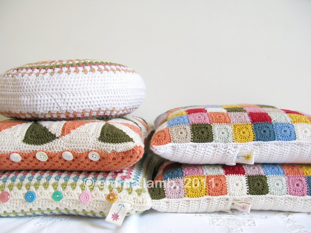 Crochet cushions by Emma Lamb for the Selvedge Spring Fair