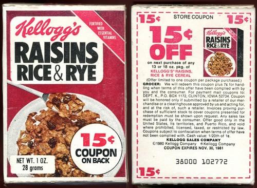 1980 Kelloggs Raisins Rice & Rye