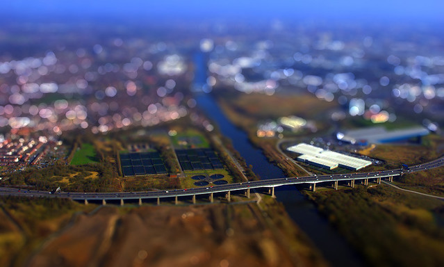 Barton Bridge, Manchester, tilt-shift