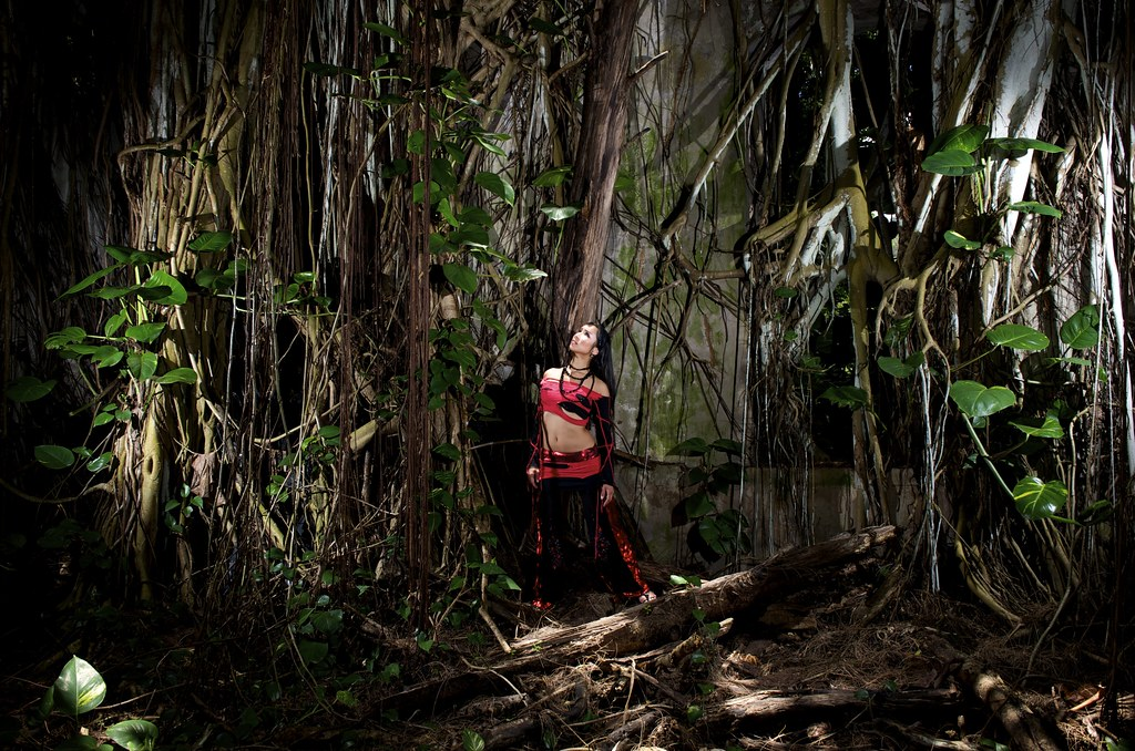 Anasma Red jungle church Hawaii photo by Joe Marquez pants by Sandralis Gines top and skirt by Lyvadia 008