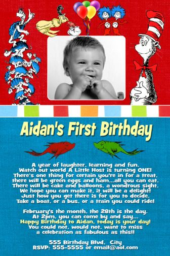 Dr Seuss First Birthday Invitations