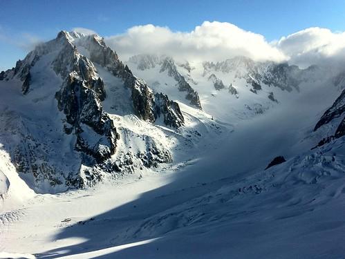 Snowboarding at Les Grand Montets, Chamonix Mont-Blanc, France