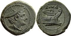 43/6 var. Luceria L Semuncia. Roman mint. Mercury; ROMA / Prow, narrow angled stem, no mintmark, in circle. RR 3g67