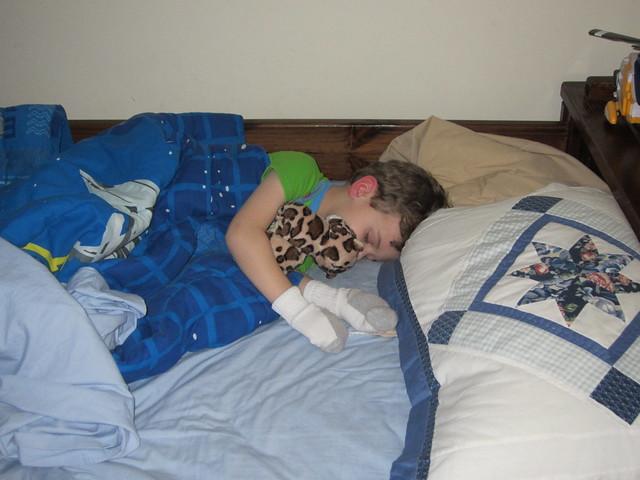 cameron sleeps cammy sleeping with a jaguar and socks on flickr photo sharing. Black Bedroom Furniture Sets. Home Design Ideas