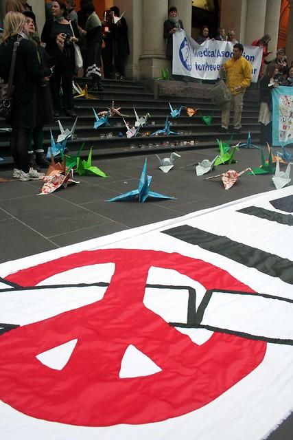 Peace symbol and peace cranes - Melbourne Vigil for Japan