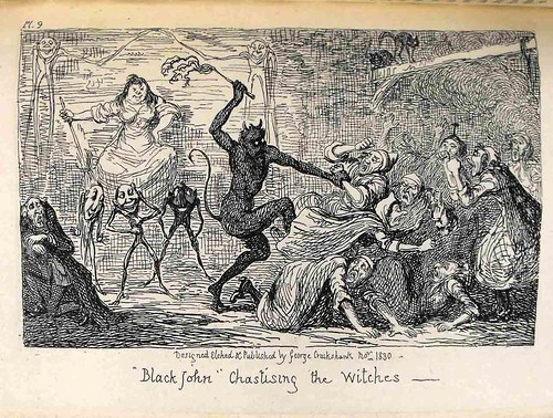 "Illustration: ""Black John"" chastising the witches, from Letters on demonology and witchcraft"