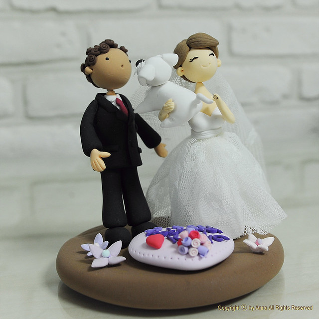 Cute Couple With Their Pet Dog Wedding Cake Topper