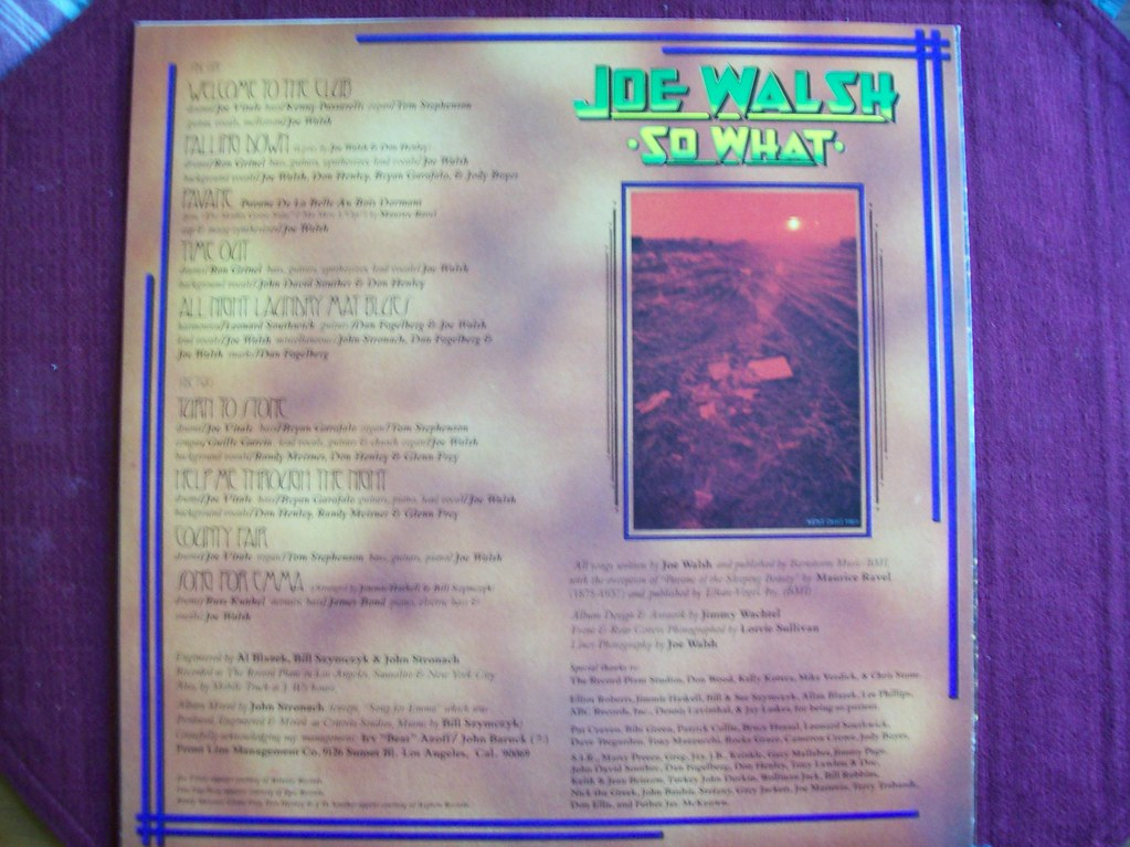 Joe Walsh So What LP jacket back side | (Photo by P  Strause