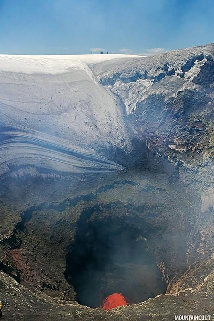 Villarrica volcano lava crater