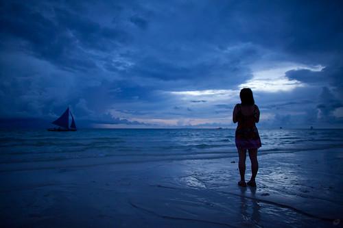 sunset sea beach silhouette island philippines boracay 海 日落 剪影 岛 沙滩 菲律宾 长滩