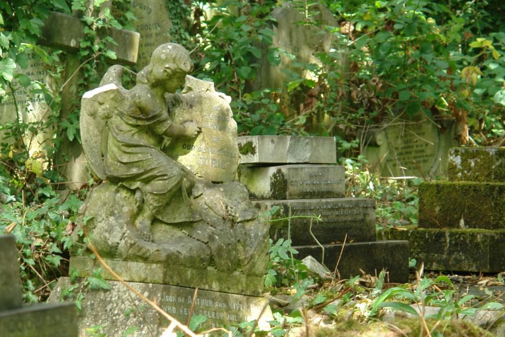 Tumbas a la vista desde fuera del cementerio Este a través de la metálica y vieja reja highgate cemetery - 5517735790 9646b8e418 o - Highgate Cemetery de Londres, donde a la muerte se le llama arte