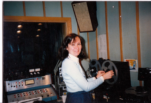Laura producing For the Birds at KUMD in the '80s.