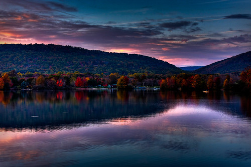 blue trees light sunset shadow red sky orange lake reflection fall nature water yellow clouds canon evening boat fishing quiet purple peaceful moutains hdr photomatix 40d