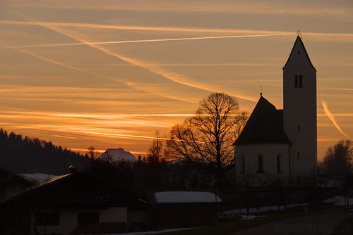 sunset tree church bayern bavaria sonnenuntergang samerberg steinkirchen 巴伐利亚 chiemgau brünnstein alpenbildde