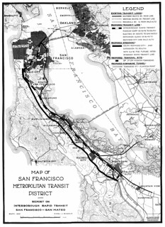Map of San Francisco Metropolitan Transit District, Report on Interborough Rapid Transit, San Francisco-San Mateo (1931)