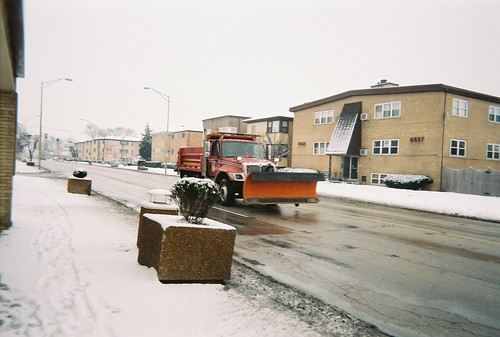 Village of River Grove Department of Public Works International snowplow equipped dump truck on Grand Avenue. River Grove Illinois USA. February 2006. by Eddie from Chicago