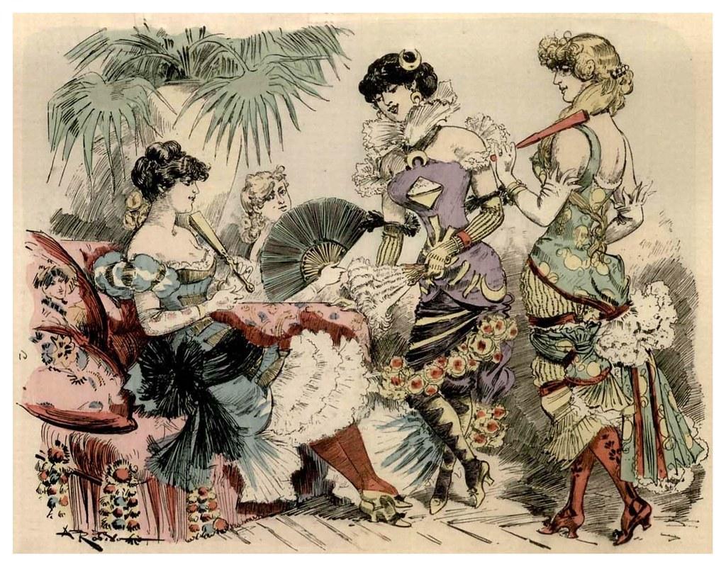 014-Moda de fiesta en 1952-La grande mascarade parisienne 1881-84-Albert Robida