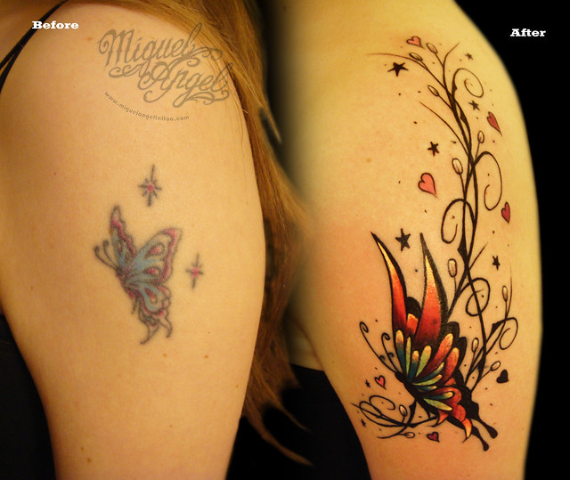 Butterfly and pattern Cover up tattoo Miguel Angel Custom Tattoo Artist