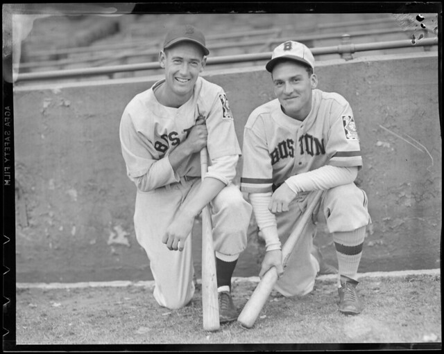 Boston Red Sox Ted Williams and Boston Bee Eddie Miller at Braves Field