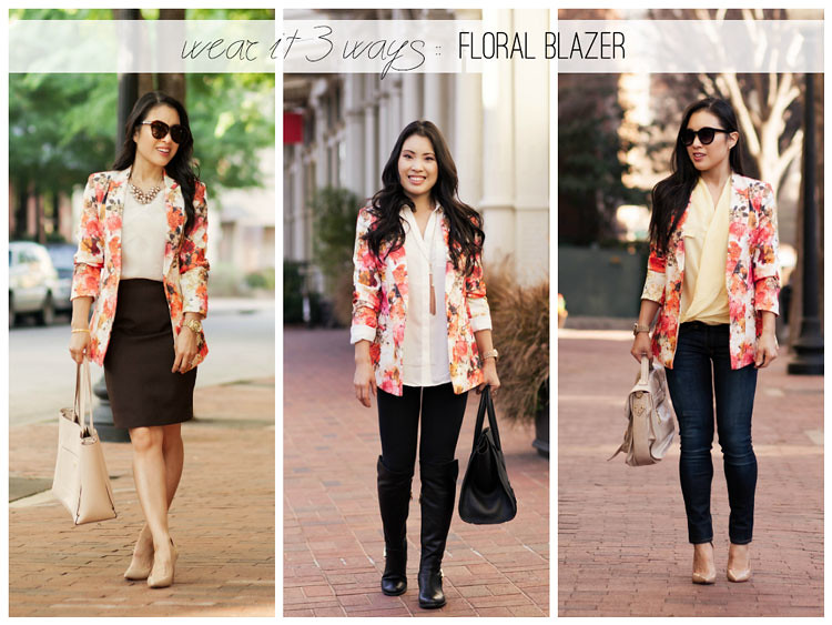 cute & little blog | petite fashion | floral blazer - wear it 3 ways, styling inspiration outfit ideas