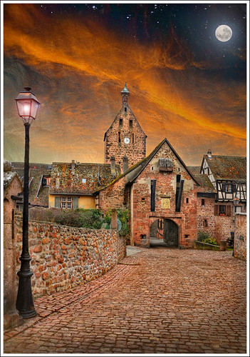 street sky moon france art church wall architecture clouds photoshop painting landscape village place path alsace moonlight porte paysage rue église pathway anotherworld patrimoine riquewihr routedesvins patrimony priaux mygearandme