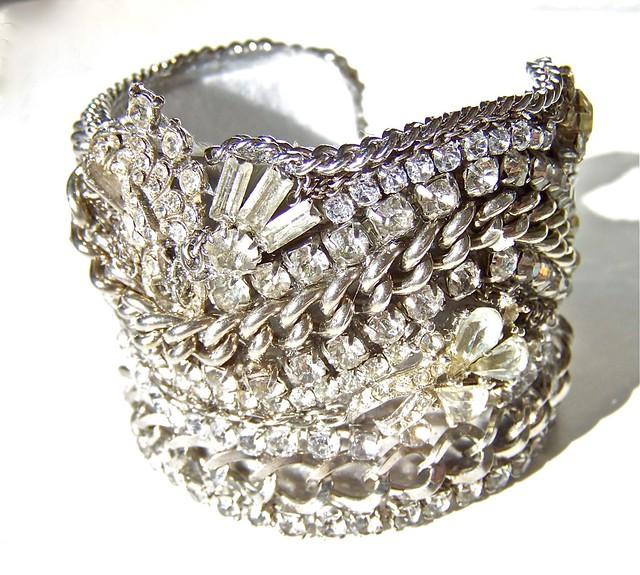 Cuff Statement Bracelet Vintage Bridal Jewelry