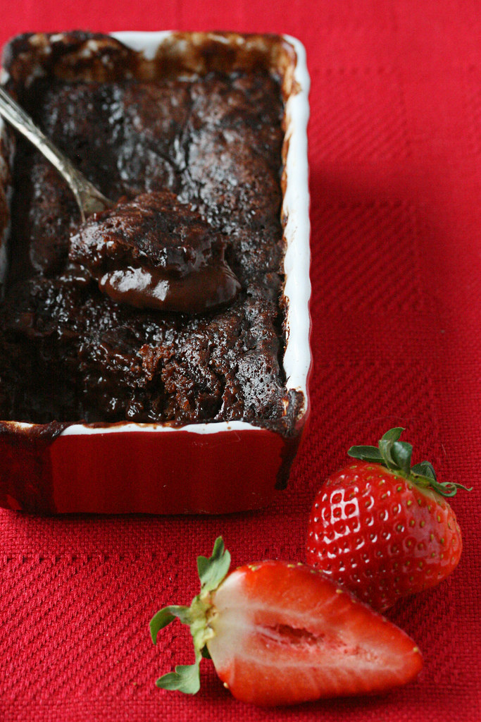 Warm Raspberry-Chocolate Pudding Cake