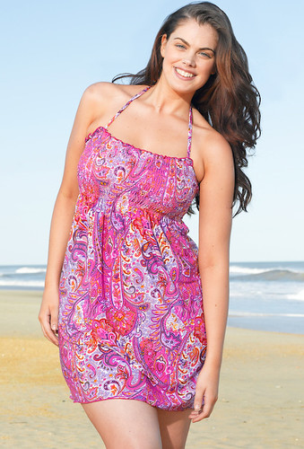 Refined Coverage Pink Paisley Plus Size Smock Dress by Beach Belle®