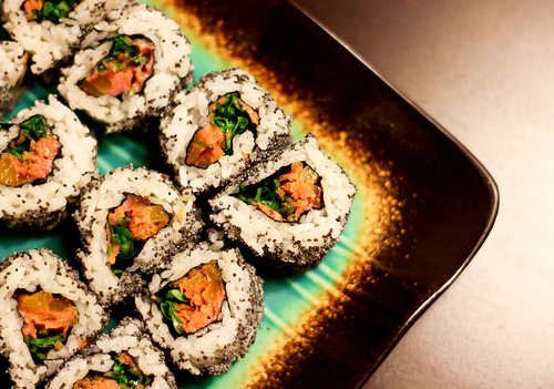 Maki rolls with carrot, roasted pepper and pea shoots