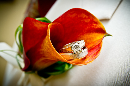 Creative Wedding Ring Photo - Orange Calla Lilly