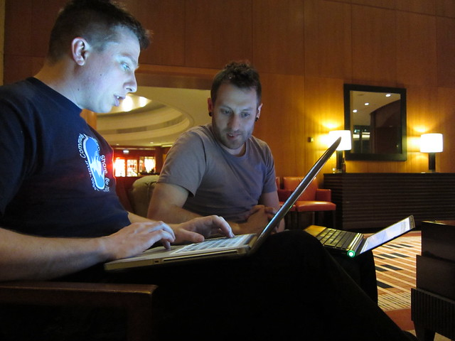 DrupalCon Chicago - Dave and Patrick geeking on maps