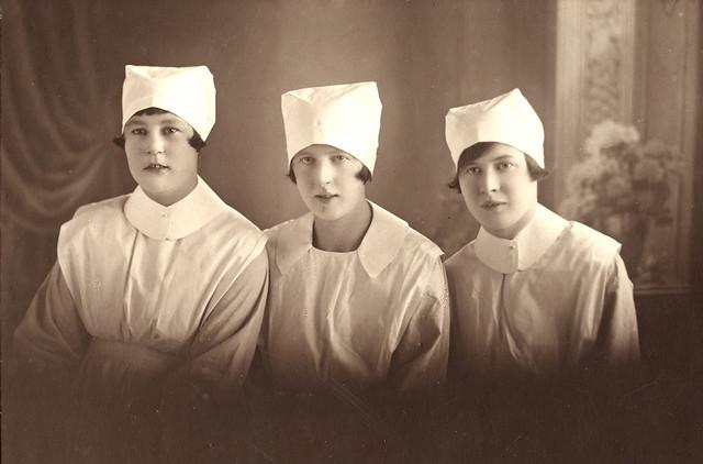 Portrait of three nurses from Stockton Hospital, NSW, Australia, 1928.