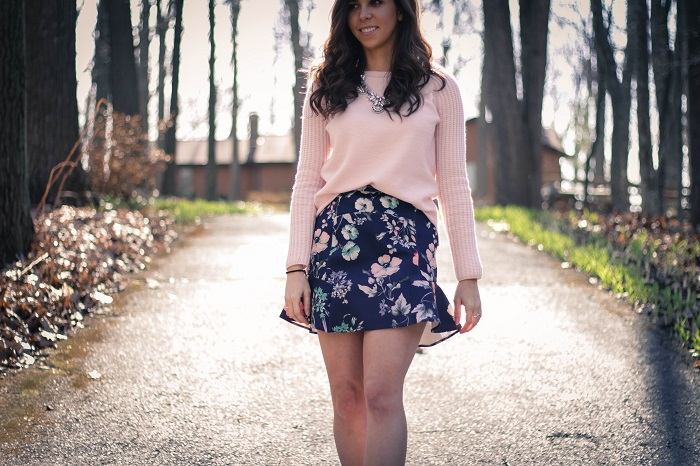 va darling. dc fashion blogger. personal style blogger. virginia personal style blogger. zara floral skirt. pink wool gap sweater. jcrew metallic pumps. baublebar silver  necklace. 11