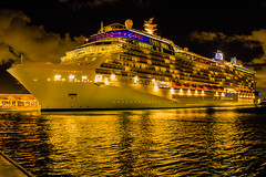 Celebrity Silhouette at night — Docked at Pier 4 in San Juan, Puerto Rico